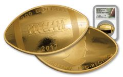 2017 Canada 1 Ounce $200 Gold Football NGC Gem Proof First Day of Issue - Theismann Signed Label