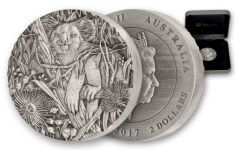 2017 Australia 2 Dollar 2-oz Silver Koala High Relief Antique