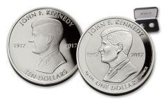2017 British VIrgin Islands 10 Dollar 1-oz Silver JFK Proof and 1 Dollar Reverse Proof 2-Piece Set