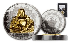 2017 Palau $10 2-oz Silver Laughing Buddha Proof