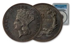 1865 $3 Copper Indian Princess Pattern Judd-441 PCGS PR62BN
