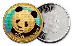 2017 China Gold and Silver Panda Proof 35th Anniversary 2pc Set