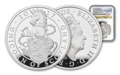 2017 Great Britain 1-oz Silver Queens Unicorn NGC PF70UCAM First Releases