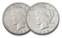 1934-1935-P Peace Dollar XF 2pc Set