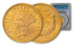 1854-P $3 Gold Indian Princess PCGS MS65