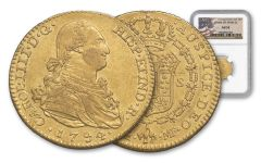 1789-1797 Spain 2 Escudos Gold George Washington Ten Legal NGC AU