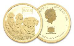 2018 Tokelau 5 Dollar 1/2 Gram Gold Year Of The Dog Proof