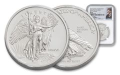 2017 Saint Gaudens' 1-oz Silver Winged Liberty NGC MS70- Mercanti Signed