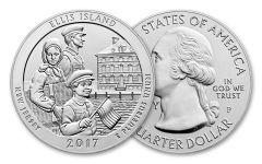 2017-P 25 Cent 5-oz Silver America The Beautiful Ellis Island Specimen