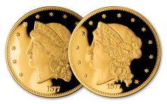 1877 Smithsonian 1/2-oz Gold Half Union Set NGC Gem Proof 2pc