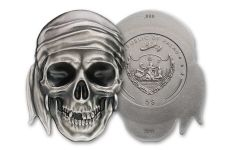 2017 Palau $5 1-oz Silver Pirate Skull Brilliant Uncirculated