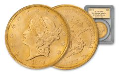 1857-S $20 Gold Spiked Shield Liberty SS Central America PCGS MS64