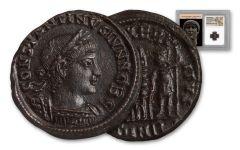 Ancient Roman Bronze Constantine II NGC AU