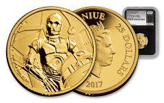 2017 Niue 25 Dollar 1/4-oz Gold Star Wars Classic C3PO NGC PF69UCAM First Struck - Black