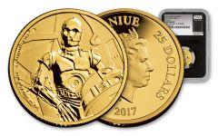 2017 Niue 25 Dollar 1/4-oz Gold Star Wars Classics C-3PO NGC Gem Proof First Struck - Black