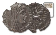 337-340 AD Roman Bronze Constantine I Hand Of God NGC AU