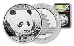 2018 China 30 Gram Silver Panda NGC MS70 First Day Of Issue - Black