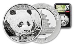 2018 China 30 Gram Silver Panda NGC MS69 First Release - Black