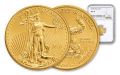 2018 5 Dollar 1/10-oz Gold Eagle NGC MS70 Brown Label