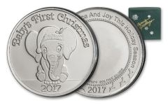 2017 1-oz Silver First Christmas Baby Elephant - Green Box