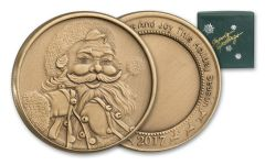 2017 Bronze Santa Sleigh Bells Round - Green Box