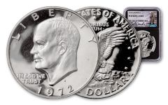 1972-S Eisenhower Dollar NGC PF69UCAM Charlie Duke Signed - Black