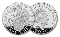 2018 Great Britain 10-oz Silver Queen's Beasts Red Dragon Proof