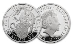 2018 Great Britain 1-oz Silver Queen's Beast Red Dragon Proof