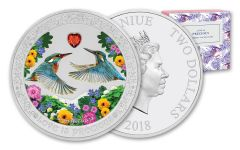 2018 Niue 1-oz Silver Love Is Precious King Fishers Proof