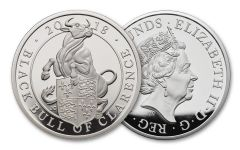 2018 Great Britain 10 Pounds 5-oz Silver Queens Beast Black Bull Proof