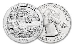 2018 25 Cent 5-oz Silver America The Beautiful Apostle Islands BU