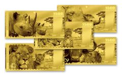 2018 Tanzania 1500 Shilling 1-gram Gold Big Five Set Proof-Like 5pc