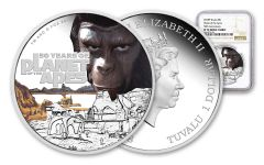 2018 Tuvalu 1-oz Silver 50th Anniversary Planet Of The Apes NGC PF70UCAM