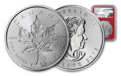 2018 Canada 1-oz Silver Incuse Maple Leaf NGC MS69 First Releases Canada Label - Red