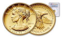 2018-W 10 Dollar 1/10-oz Gold Liberty High Relief PCGS PR70DCAM First Strike Flag Label
