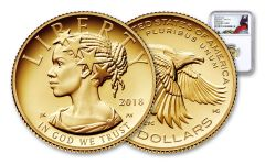 2018-W 10 Dollar 1/10-oz Gold Liberty High Relief NGC PF70UCAM First Releases Flag Label