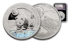 2017 China 1-oz Silver Moon Panda NGC Gem Proof