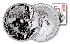 2018 Tuvalu 1 Dollar 1-oz Silver Black Panther NGC MS70- First Releases
