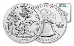2018 25 Cent 5-oz Silver America The Beautiful Pictured Rock NGC MS69DPL Early Releases
