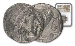Greek Athena Owl Coin NGC Ch AU