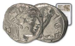 Greek Athena Owl Coin NGC Choice AU