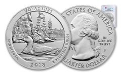 2018-P Voyageurs National Park 5-oz Silver America the Beautiful Specimen PCGS SP70 FS Flag Label