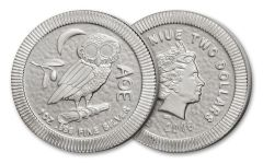 2018 Niue 2 Dollar 1-oz Silver Athenian Owl Uncirculated