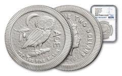 2018 Niue 2 Dollar 1-oz Silver Athenian Owl NGC MS70