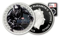 2018 Tuvalu 1 Dollar 1-oz Silver Black Panther NGC PF70UCAM First Releases Marvel Label - Black