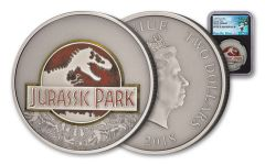 2018 Niue 2 Dollar 1-oz Silver Jurassic Park 25th Anniversary Antique NGC MS70 - Black