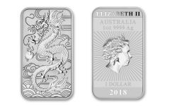2018 Australia 1 Dollar 1-oz Silver Dragon Bar BU