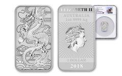 2018 Australia 1 Dollar 1-oz Silver Dragon Bar NGC MS70 First Releases