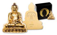 2018 Mongolia 3-oz Gilt Silver Shakyamuni Buddha BU
