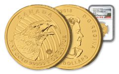 2018 Canada 1-oz Gold Call of the Wild Golden Eagle NGC MS70 Early Releases Canada Label